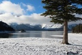 Picture snow, island, mountains, winter, trees, lake, the sky, clouds