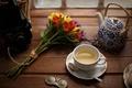 Picture flowers, tea, kettle, still life