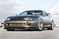 Picture the sky, clouds, reflection, Toyota, silver, Supra, aircraft, Toyota, supra, the front part, silvery