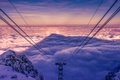 Picture views, wires, snow, clouds, pylon, shadow, cable car, trees, mountains, Sky, nature, spectacular, landscape