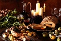 Picture wine, grapes, still life, vegetables, roll, baked meat