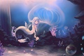 Picture flowers, ears, underwater world, Medusa, bubbles, Mermaid