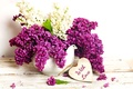 Picture vase, flowers, spring, purple, romance, bouquet, lilac, with love, lilac