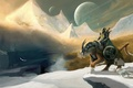 Picture snow, mountains, birds, river, weapons, planet, sword, armor, warrior, art, rider, shield, knight, Winter Knight