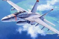 Picture jet, aviation, painting, FA-18F Super Hornet US Navy Fighter Attacker, war, art