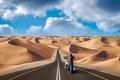 Picture photo, the way, the dunes, road, motorcycle, desert, collage, sand, photoshop, photographer, Andrés Nieto Porras, ...