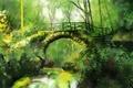 Picture greens, forest, bridge, nature, art, Antonio Rodriguez Pacheco