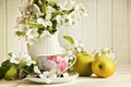 Picture flowers, tea, Cup, Jasmine, green, apples, pitcher
