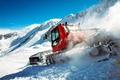 Picture the sky, slope, snow, Mountains, track, bucket, Kässbohrer, Snowcat, From Kitty Bully