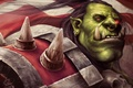 Picture Edwardckkk, Grommash Hellscream, Orc, art, Hearthstone, Thunder, WoW, World of Warcraft, Grom Hellscream, fangs, spikes, ...