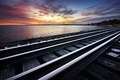 Picture frost, lake, rails, Sunset, railroad