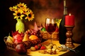 Picture bottle, glass, wine, red, corkscrew, nuts, still life, candle, fruit, pear, basket, grapes, apples, strawberry