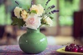 Picture vase, flowers, still life, table, bouquet, cherry, summer