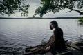 Picture lake, overcast, girl, long dress, sitting, shore