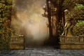 Picture trees, flowers, fog, Park, mood, statue, art