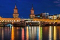 Picture Berlin, backlight, bridge, lighting, Germany, road, Germany, The upper tree bridge, Spree, Oberbaum, lights, capital, ...