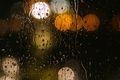 Picture macro, glass, orange, rain, lights, bokeh, water, yellow, drops