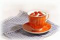 Picture orange, berries, raspberry, tea, Cup, drink, napkin