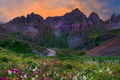 Picture road, field, the sky, grass, sunset, flowers, mountains, Landscapes, Colorado
