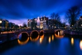 Picture bridge, home, lights, Amsterdam, Netherlands, channel, night, the sky