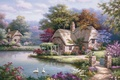 Picture picture, Sung Kim, river, painting, swans, painting, home