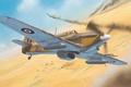 Picture war, figure, art, Hawker, Hurricane Mk II, desert, fighter