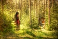 Picture style, tiger, girl, texture, forest