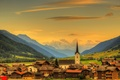 Picture forest, valley, the sky, clouds, town, Goms, home, Ulrichen, mountains, Switzerland