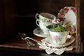Picture flowers, napkin, violet, buffet, spoon, saucers, Cup, dishes