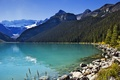 Picture mountains, trees, Alberta, lake, Lake Louise, forest, the sun, the sky, Canada, stones
