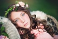 Picture portrait, girl, wreath, look, mood, face