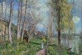 Picture picture, Hay, walk, trees, path, girl, clouds, the sky, river, Alfred Sisley