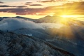 Picture morning, rays, mountains, snow, winter, fog, trees, dawn, clouds, the sun, forest