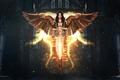 Picture fantasy, girl, sword, brunette, CGOz, angel, wings, weapons