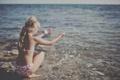 Picture the sun, joy, shore, girl