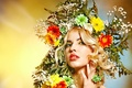 Picture look, girl, flowers, face, wreath
