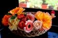 Picture basket, gerbera, roses