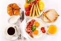 Picture juice, coffee, bacon and eggs, fruit, serving, croissants, Breakfast, breakfast