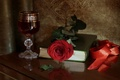 Picture tape, rose, book, glass