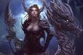 Picture look, girl, dragon, smoke, art
