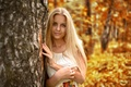 Picture look, golden, face, inspiration, leaves, nice, beautiful, girl, young, long-haired, Nastya, autumn, dress, model, portrait, ...