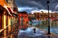 Picture boats, Greece, greece, lights, promenade, building