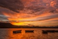 Picture boats, lake, sunset