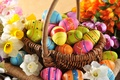 Picture flowers, eggs, holiday, spring, flowers, happy, Easter, eggs, Easter, wood, colorful, spring