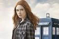 Picture look, TARDIS, face, redhead, plaid shirt, girl, Doctor Who, clouds, Karen Gillan, Karen Gillan, cute, ...