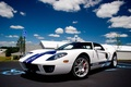 Picture white, blue, gt, ford, stripes