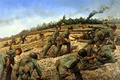 Picture forest, war, smoke, Americans, soldiers, war, vintovki