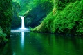 Picture waterfall, greens, river