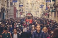 Picture people, Istanbul, crowd, cityscape, tram, urban scene, Turkey, street, everyday life