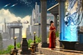 Picture spaceship, vase, stars, the city, tree, tower, new delphi, column, the oracle, the sky, woman, ...